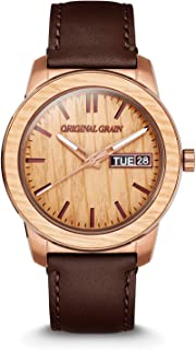 | Whiskey Espresso Leather Barrel 42mm Watch | Brown Genuine Leather Band | Handcrafted from Reclaimed Whiskey Barrel | Scratch & Water Resistant to 5ATM | Gift for Men