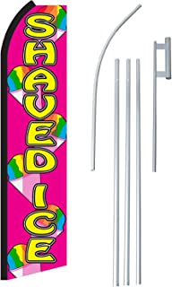 "NEOPlex - ""Shaved Ice"" Complete Flag Kit - Includes 12` Swooper Feather Business Flag With 15-foot Anodized Aluminum Flagpole AND Ground Spike"