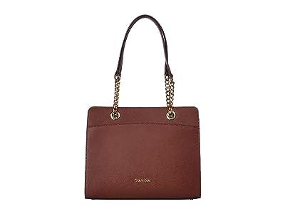 Calvin Klein Hayden Saffiano Leather Chain Satchel (Walnut) Satchel Handbags