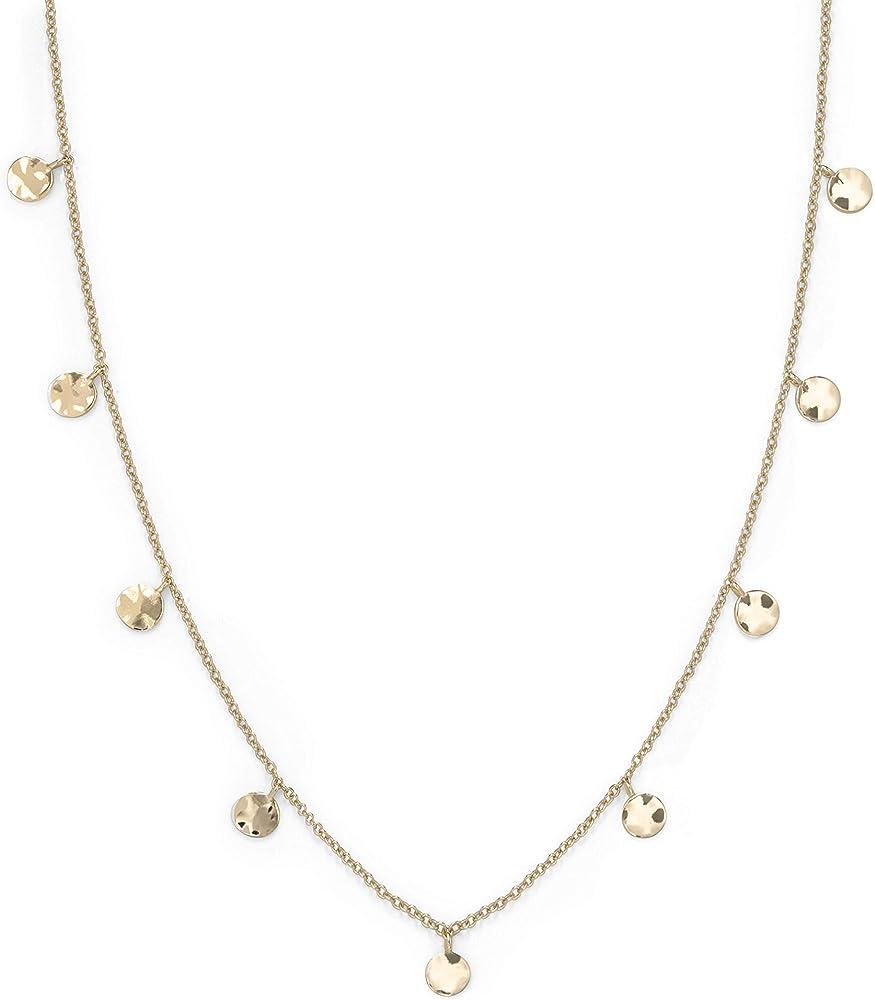 Rosefield, collana da donna, con ciondoli a forma di monete, in acciaio  con placcatura in oro 14 kt JTCWG-J096
