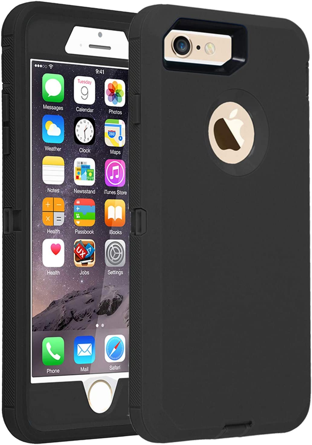 Co-Goldguard Case for iPhone 7 Heavy Duty iPhone 8 Cover Durable 3 in 1 Built-in Screen Protector Hard Cover Dust-Proof Shockproof Drop-Proof Shell (Black)