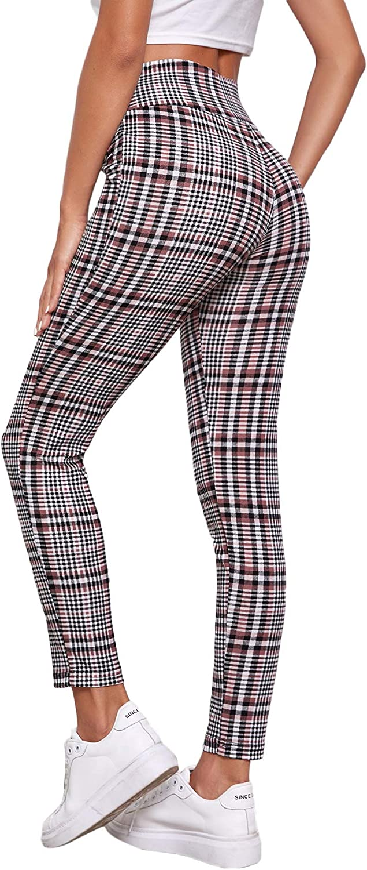 SweatyRocks Women's Casual Plaid Yoga Pants High Waist Tummy Control Workout Leggings
