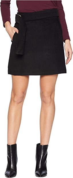 Belted Corduroy Mini Skirt