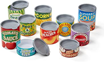 """Melissa & Doug Let's Play House! Grocery Cans, Pretend Play, Pop-Off Lids, Sturdy Cardboard construction, 10 Cans, 13"""" H x 5"""" W x 2.75"""" L"""