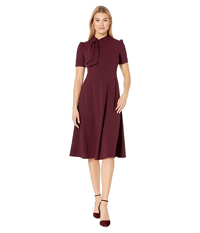 Maggy London  Crepe Fit and Flare Dress with Neck Tie (Port Wine) Womens Dress