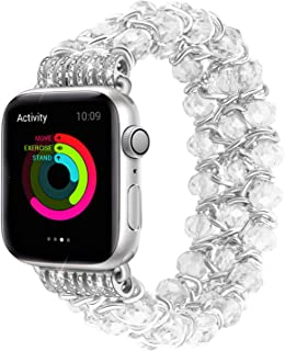 JuQBanke Compatible for Apple Watch Band 42mm 44mm, Handmade Elastic Stretch Crystal Beaded Metal Bracelet Chain Replacement Women Strap for iWatch Series 5, 4, 3, 2, 1(Transparent, 42SM)