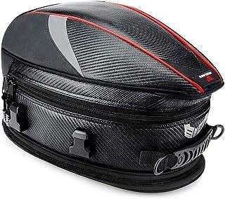 WOSAWE Motorrad Hecktasche Multifunktions PU Leder Fahrrad Gepäck Rücksitz Helm Tasche mit Wasserdichtem Überzug und Tragegurt Schwarz
