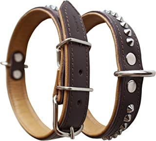 Corspet Full Grain Nappa Leather Dog Collar - Handmade in the EU - Studded Leather Collar With Silver Nickel Plated Hardware - Luxury Soft Touch Double Sided Full Grain Leather - Heavy Duty Pet Collar