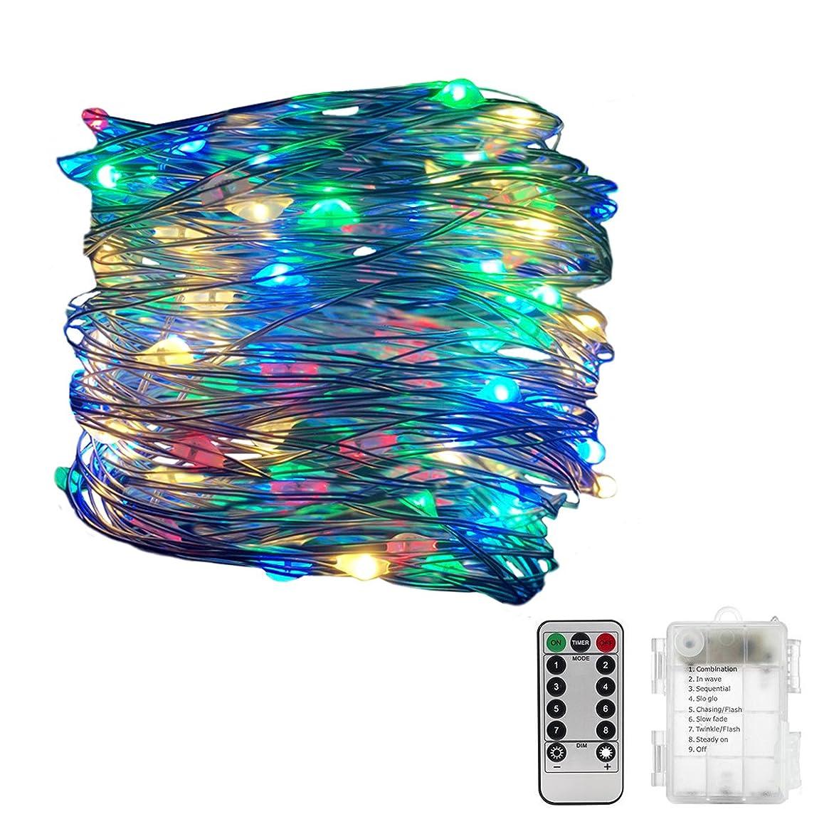 挑む含意いとこイルミネーションライト10M 100LED ーション 電池式 室内 室外 防水 LED ライト リモコン 付き 室外 装飾 結婚式 パーティー 飾り ライト 正月 クリスマス 飾り (レインボー4色)