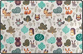 Vantaso Nursery Area Rugs Soft Foam Funny Cartoon Forest Animals Bear Deer Fox Hedgehog 60x39 inch Play Mats for Kids Playing Room Living Room Door Mat
