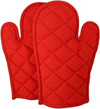 DM COOL COTTON - Oven Gloves Set (Red) (2 Oven Gloves) (Heat Proof)