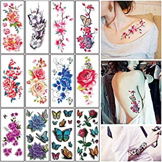 Flower Temporary Tattoos for Women Adults 3D Butterfly Rose Tattoo Sexy Fake Tattoo Stickers Waterproof Body Art Temp Tattoo Paper Colored Floral Lily Lotus Peony Festival Makeup Tattoo 12 Sheets