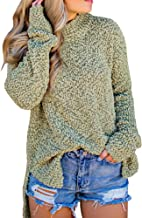 Dellytop Womens Sweaters Fuzzy Long Sleeve Loose High Low Fleece Knit Sweatshirts Pullovers