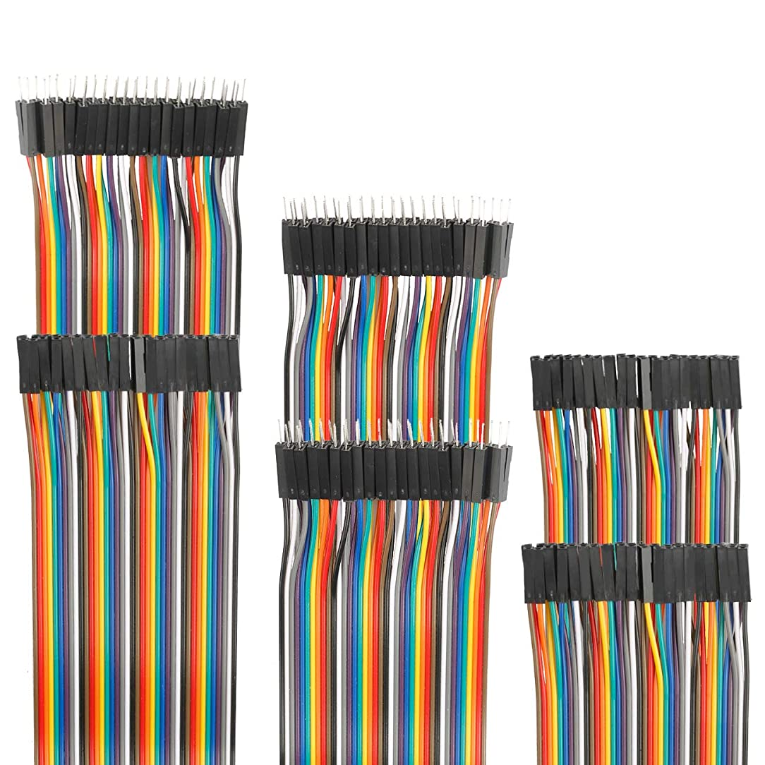 EDGELEC 120pcs Breadboard Jumper Wires 10cm 15cm 20cm 30cm 40cm 50cm 100cm Optional Arduino Wire Dupont Cable Assorted Kit Male to Female Male to Male Female to Female Multicolored Ribbon Cables