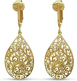 Aloha Earrings - Victorian Filigree Clip On Earrings for Women - Non Pierced Dangle Fashion Jewelry