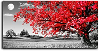 MHARTK66 Wall Art for Living Room Simple Life red Moon Tree Scenery Abstract Painting Office Wall Art Decor 24