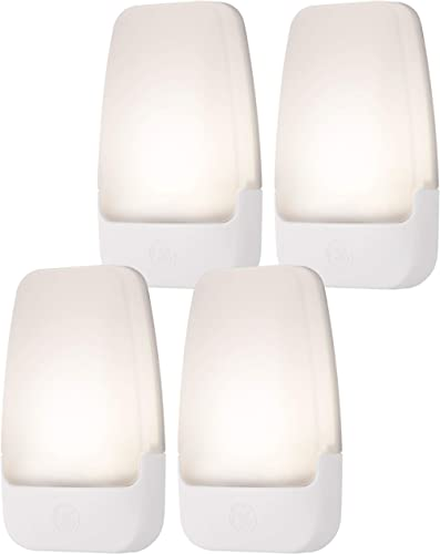 GE Soft White LED Night Light, 4 Pack, Dusk to Dawn, 3000K, UL-Listed, Ideal for Kitchen, Home Office, Bedroom, Nurse...