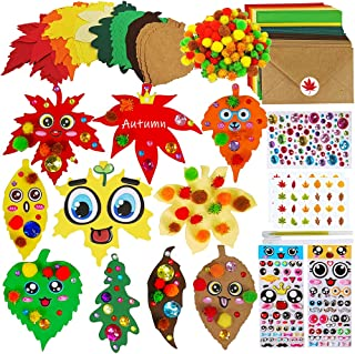 50 Pcs Fall Leaf Cutouts Cardboard Cutouts Maple Oak Birch Leaf Accents Craft with Pom-poms Envelopes Stickers for Kids Cl...