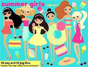 Beach Accessories - Summer Girls Clip Art, Clip Art Summer Girls, Beach Accessories, Sunglasses, Beach Tote, Ice Cream, Lemonade, Sun Hat, Beach Ball