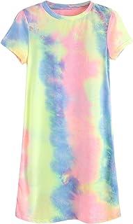 63a1551a2c4 Romwe Loose Casual Short Sleeve Tie Dye Ombre Swing T-Shirt Tunic Dress