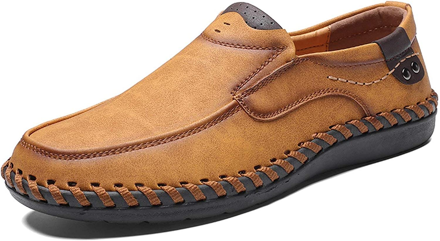 ALWAYS ME Men Casual Driving shoes Leather Loafers shoes Soft Breathable Moccasins Flats Slip on Footwear