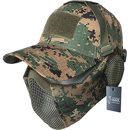 J-HARK サバゲー マスク フェイスガード タクティカル キャップ セット 耳保護付き 曇らない メッシュ フェイスマスク サバイバルゲーム 装備 (MARPATデジタルカモフラージュ・グリーン)