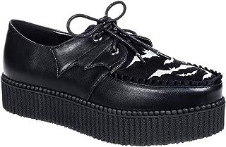 3fb9e944b0c8d4 Banned Rebel Rebel Bats Creeper Chaussures Baskets Femme Compensées (Noir)  - 37