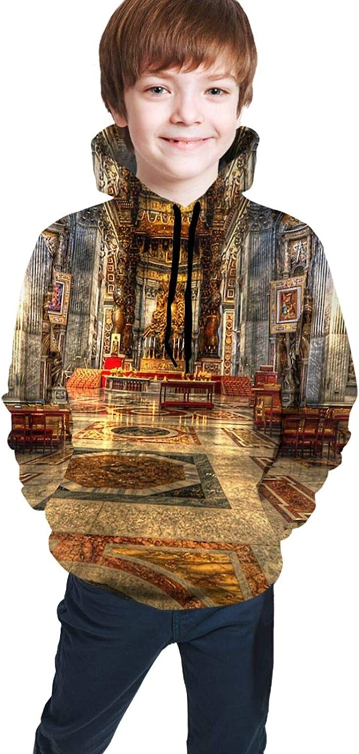 Boys Girls Hoodie, St Peter's Cathedral Unisex 3D Printing Teenager Sweatshirt Kids Children's Sweater for Age 7-20