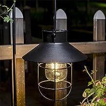 مصابيح شمسية من بولامي للتعليق في الهواء الطلق مزينة بخطاف معدني لتزيين فناء حديقة ممر الفناء (2PACK, أسود)
