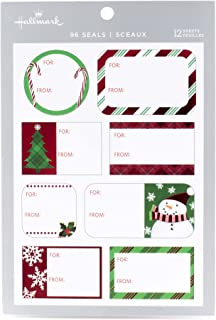 Hallmark Christmas Gift Tag Stickers (96 Labels; Santa, Trees, Blue, Glitter)