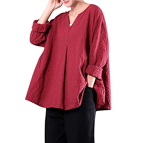 f33e8f2a6947a LANISEN Women s Plus Size Long Sleeve Cotton Linen Casual Loose Plaid  Blouse Tops Shirts
