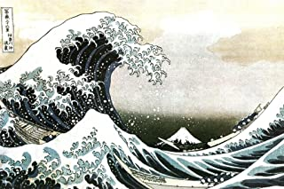 The Great Wave of Kanagawa Katsushika Hokusai Japanese Art Print Wall Decor Ocean Waves Off Painting Replica for Dorm Room Decor Or Home Room Kitchen Artistic Laminated Dry Erase Sign Poster 18x12