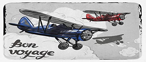Ambesonne Going Away Party Kitchen Mat, Retro Airplane Poster Inspired Bon Voyage Lets Travel Fly Vintage Print, Plush Decorative Kithcen Mat with Non Slip Backing, 47 X 19, Blue Red Grey