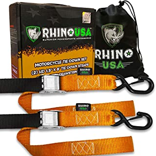 Best Rhino USA Motorcycle Tie Down Straps (2 Pack) Lab Tested 3,328lb Break Strength, Steel Cambuckle Tiedown Set with Integrated Soft Loops - Better Than a Ratchet Strap… Review