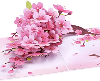 Oritouchpop Cherry Blossom Pop Up Card, Handmade 3D Greeting Card, Mothers Day Card for Her Women Birthday Wedding Anniver...