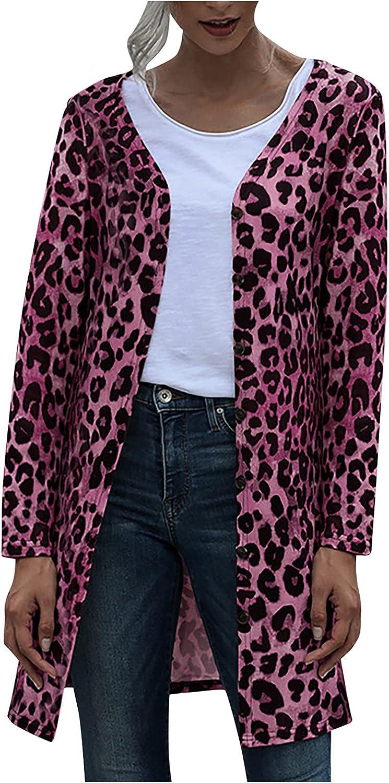 Women Casual Lightweight Long-Sleeved Button Leopard Print Coat Cardigan Raincoat
