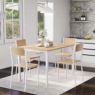 belupai Juego de mesa de comedor y silla de 4 marcos de madera de acero estilo industrial retro de cocina (natural)