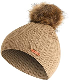 HULKAY Unisex Caps Sale Clearance Casual Soft Stretch Stripe Knitted Autumn and Winter Trendy Warm Big Hair Ball Hat