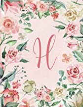 2021-2022 Monthly Calendar, Initial/Letter H Pink & Green Floral Wreath Design: Pretty, Personalized Monogrammed Pink & Be...