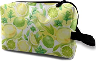Citrus Pattern Travel Makeup Cute Cosmetic Case Organizer Portable Storage Bag for Women