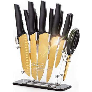 DISHWASHER SAFE Golden Titanium Knife Set with Acrylic Stand, Kitchen Knives Set with Block, Scissor,Santoku knife,6 Golden Steak Knives Cutlery Gold Knife Set,14piece Set,Black Handle,Marco Almond