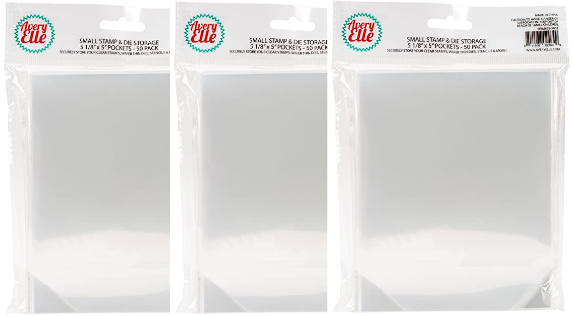 Avery Elle SS-5003 Stamp and Die Storage Pockets, Small 5 1/8 x 5 inch, Set of 50 (3 Pack)