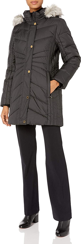Anne Klein Women's Chevron Quilt Coat with Waist Detail with Faux Fur Hood