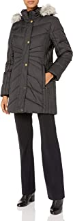 Anne Klein Women's Chevron Quilt Coat with Waist Detail with Faux Fur Hood