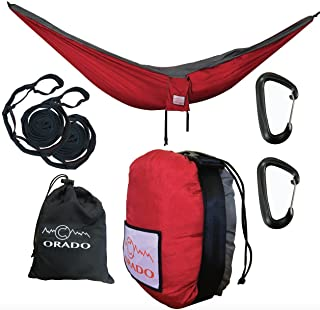 Best Double Camping Hammock,  Complete Hammock System by Orado Outdoor Products,  Includes Easy to Use Tree Straps,  Aluminum Carabiners and Attached Bag - Portable,  Ultralight