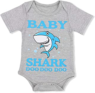Newborn Baby Girls Boys Clothes Cute Shark and Letter Print Short Sleeve Onesie Bodysuit Summer Romper White
