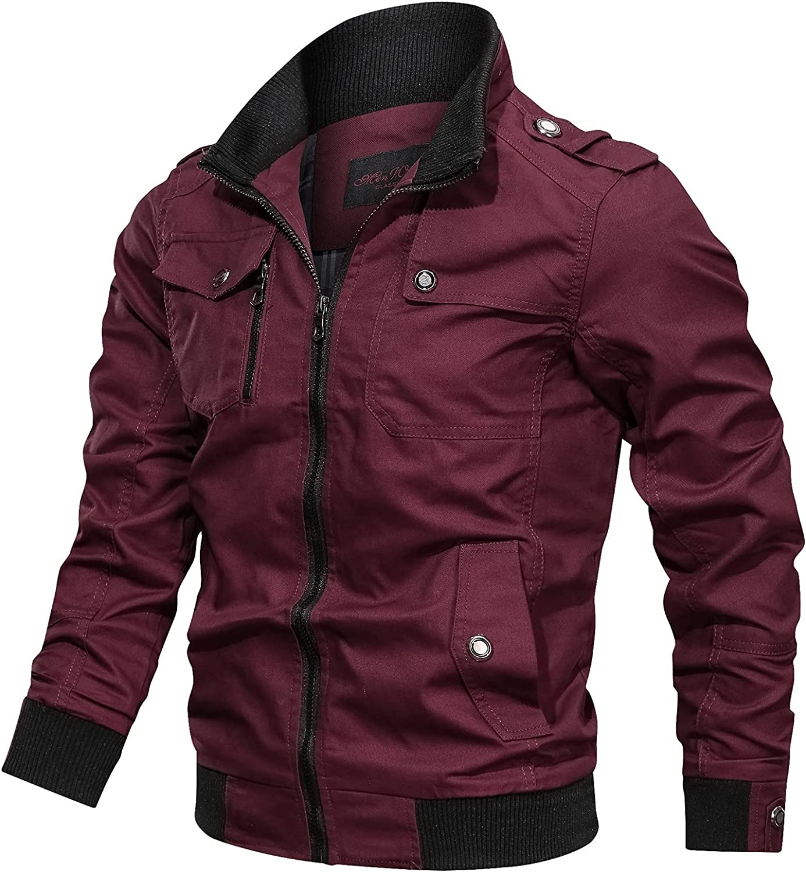 Huangse Men's Cotton Bomber Jacket Multi Pocket Military Jacket Lightweight Casual Army Jacket Outdoor Windbreaker Cargo Coat