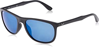 Ray-Ban Men's RB4291F Square Asian Fit Sunglasses, Matte Black/Blue Mirror, 58 mm