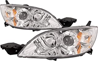 PERDE Chrome Housing Halogen Headlights Compatible with Mazda 3 2004-2009 Hatchback MPS Speed Gen 1 Includes Left Driver and Right Passenger Side Headlamps