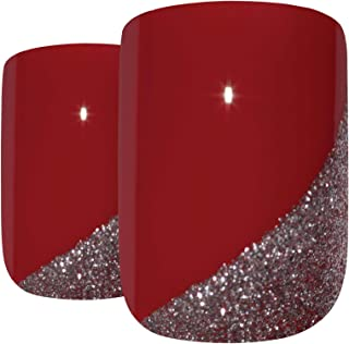 Bling Art False Nails French Fake Glitter Red Silver Squoval Medium Acrylic Tips